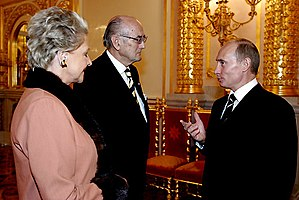 "Medal ""In Commemoration of the 300th Anniversary of Saint Petersburg"" - A recipient of the Medal ""In Commemoration of the 300th Anniversary of Saint Petersburg"" Prince Dimitri Romanov, here in conversation with Russian President Putin in 2006. (Photo www.kremlin.ru)"