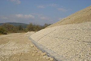 Gabion - Bank protection made with mattresses in Vrtižer, Slovakia