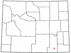 Location of Laramie shown within Wyoming