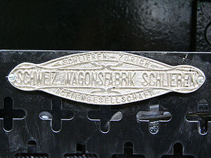 """Schweizerische Wagons- und Aufzügefabrik AG Schlieren-Zürich - Wagi Schlieren builders plate on heritage tramcar Ce 2/2 (""""Lisbethli"""") from 1900 (Tram-Museum Zürich)."""