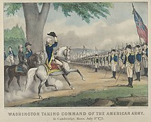 Washington on horseback in front of troops