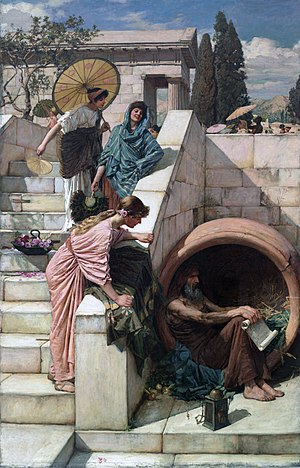 Diogenes - Diogenes Sheltering in his Barrel by John William Waterhouse