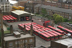 Articulated buses in the United Kingdom - The Red Arrow articulated bus fleet at Waterloo bus garage