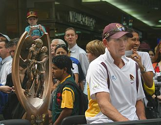 Wayne Bennett (rugby league) - Bennett with the Telstra Premiership trophy at post 2006 NRL Grand Final celebrations in Brisbane.