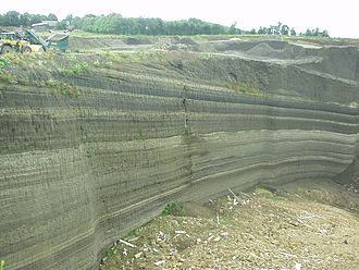 Volcanic Eifel - Tephra layers in a quarry near Weibern in the Brohl valley