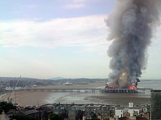 Grand Pier, Weston-super-Mare - The pier on fire on 28 July 2008.