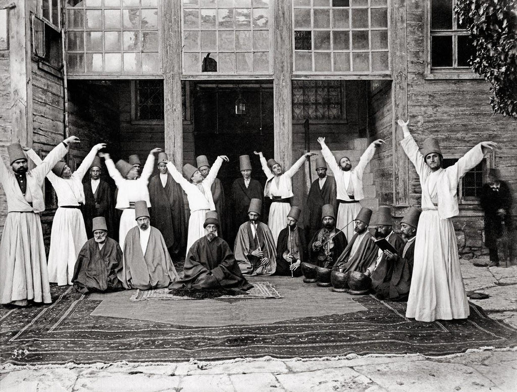 Whirling dervishes in Galata Mawlawi House, 1870