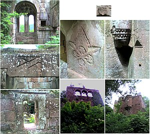 Wildenberg Castle (Kirchzell) - Photo collage of views, window arches and ornaments