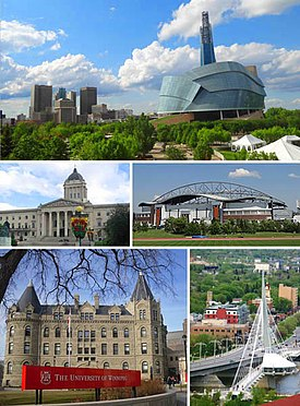 Clockwise from top: Downtown featuring the Canadian Museum for Human Rights, IG Field, Saint Boniface and the Esplanade Riel bridge, Wesley Hall at the University of Winnipeg, Manitoba Legislative Building