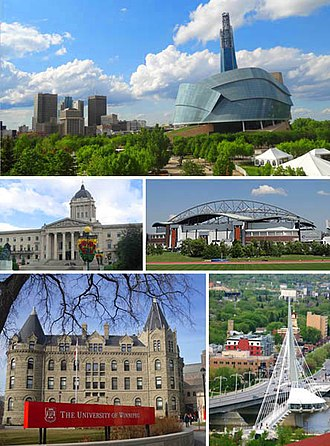 Winnipeg - Clockwise from top: Downtown featuring the Canadian Museum for Human Rights,  Investors Group Field, Saint Boniface and the Esplanade Riel bridge, Wesley Hall at the University of Winnipeg, Manitoba Legislative Building.