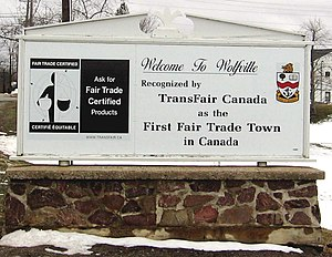 Fairtrade Town - Sign announcing Wolfville's (Canada) Fair Trade Town status
