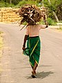 Woman Walks with Bundle of Sticks on Her Head - Near Hampi - India.JPG