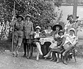 Women, kids, musician, musical instrument, summer, uniform, scouting, walking cane, hat, garden, violin Fortepan 11952.jpg