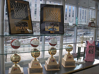 Pittsburgh Panthers women's basketball - Trophy case for Pitt women's basketball as seen in the lobby of the Petersen Events Center in 2008