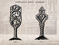 Woodwork; two spoon handles with carved folk ornament. Wood Wellcome V0024321.jpg