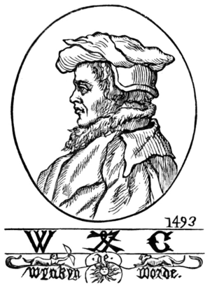Wynkyn de Worde - Portrait and printer's mark of Wynkyn de Worde. From a drawing by Fathorne.