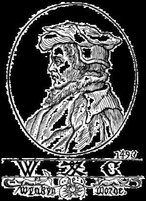 Wynkyn de Worde - Portrait and printer's mark of Wynkyn de Worde. From a drawing by Fathorne.