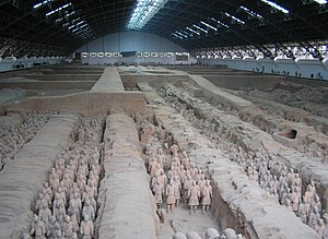 View of the largest excavation pit of the Terracotta Army.