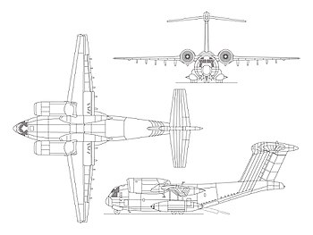 Orthographically projected diagram of the YC-14