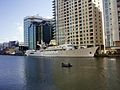 Yacht CHRISTINA O at Canary Wharf, London.JPG