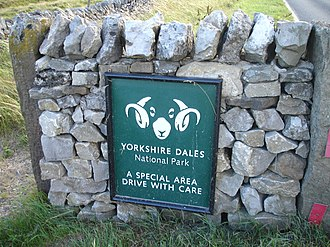Yorkshire Dales National Park - National park entrance sign, near Skipton