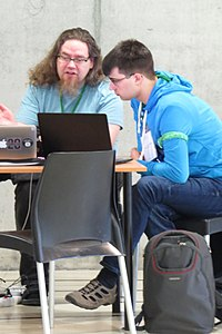 Zache and Lucas at Wikimedia Hackathon 2019.jpg