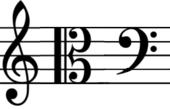 G (violin), C (alt) és F (basszus) kulcsok jelölése