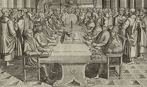 Protestant Reformers - Fictitious dispute between leading Protestant Reformers (sitting at the left side of the table: Luther, Zwingli, Calvin, Melanchthon, Bugenhagen and Oecolampadius) and representatives of the Catholic Church
