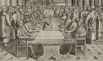 Protestant Reformers - Fictitious dispute between the leading Protestant Reformers (sitting at the left side of the table: Luther, Zwingli, Calvin, Melanchthon, Bugenhagen and Oecolampadius) and the representatives of the Catholic Church