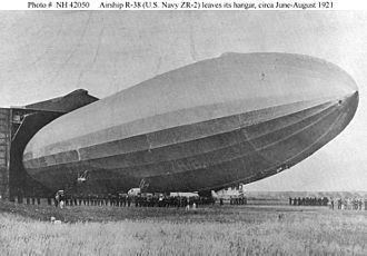 R38-class airship - The R38/ZR-2 leaving its hangar for trials, showing the top gun platform.