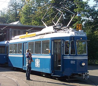 Trams in Zürich - A Swiss Standard Tram, at the city's tramway museum