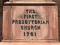 """First Presbyterian Church"" sign, First and Franklin Street Presbyterian Church, 210 W. Madison Street, Baltimore, MD 21201 (28197159328).jpg"