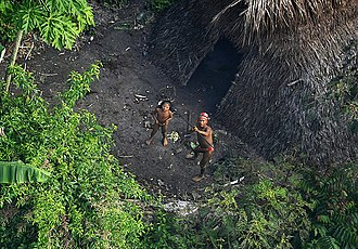 Uncontacted peoples - Members of an uncontacted tribe encountered in the Brazilian municipality of Feijó, state of Acre, in 2012