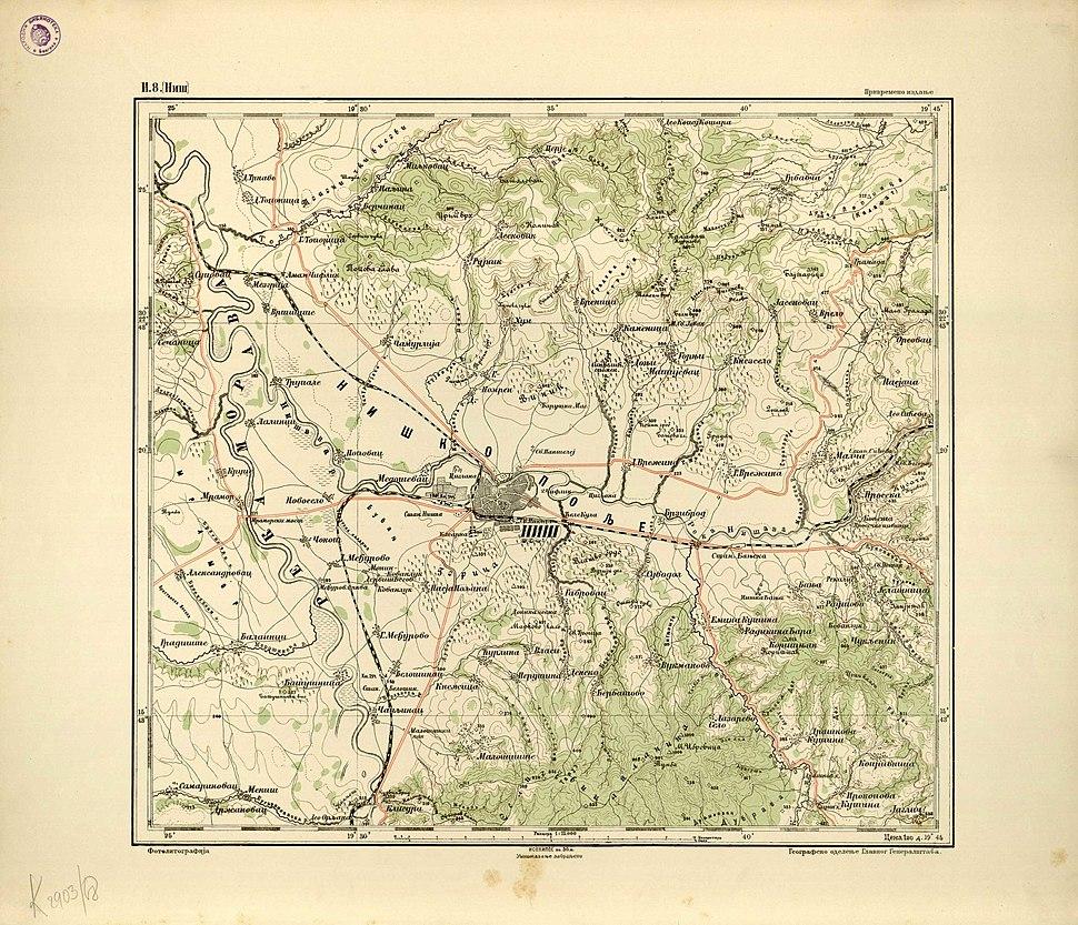 Ђенералштабна карта Србије-И 8, Ниш