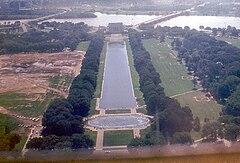 Вид на запад. Монумент Линкольна, Потомак, Пентагон и Арлингтонское кладбище