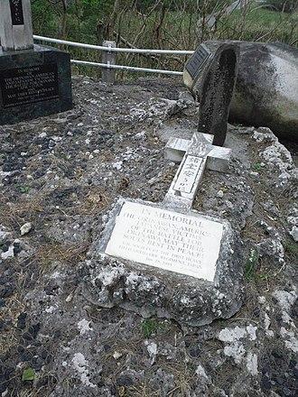 Simon Bolivar Buckner Jr. - Buckner's memorial monument on above hill.
