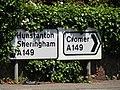 -2019-06-17 A149 road sign, Cromer road, West Runton.JPG
