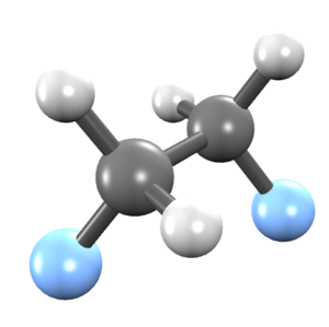 1,2-Difluoroethane - Image: 1,2 difluroethane ball and stick model