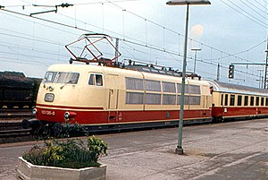 Intercity (Deutsche Bahn) - A classic Intercity train at Emmerich in 1973, hauled by a Class 103