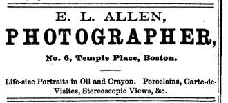 Edward L. Allen - Image: 1871 EL Allen photographer Boston Almanac