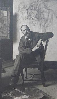 1908 Alfredo Müller dans son atelier, 73, rue Caulaincourt, Paris.JPG