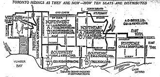 Toronto Southwest - Toronto Southwest in relation to other Toronto ridings in 1914