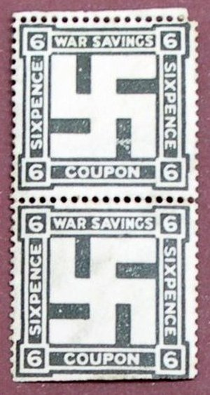 Western use of the swastika in the early 20th century -  British national savings stamp, 1916
