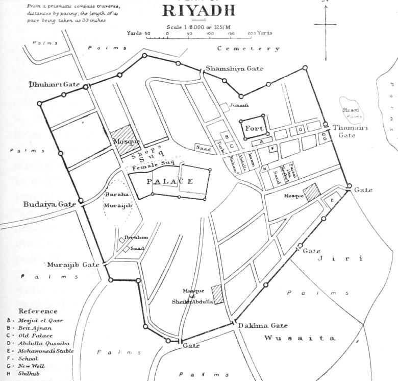 1922 map Riyadh by Philby