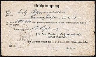 Church tax - Receipt dated September 17, 1923