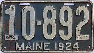 Vehicle registration plates of Maine - Image: 1924 Maine license plate