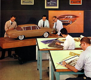 Automotive design - Designers at work in 1961. Standing by the scale model's left front fender is Richard Teague, an automobile designer at American Motors Corporation (AMC)