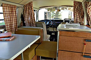 Interior in a Volkswagen Westfalia Camper.