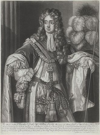 Charles Talbot, 1st Duke of Shrewsbury - Shrewsbury in the robes of the Order of the Garter, holding his staff of office as Lord Chamberlain, a post he held 1699-1700 for William III and again 1710-1715 for Anne and for George I.