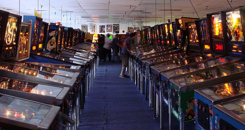 A row of pinball machines at the Pinball Hall of Fame in Las Vegas, Nevada.